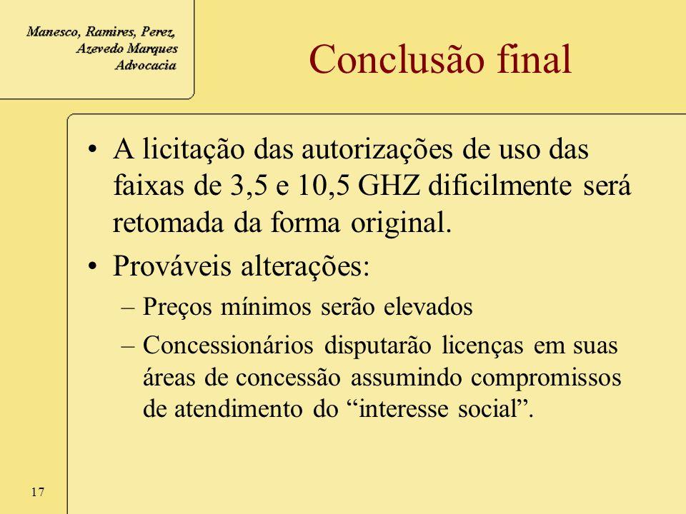Conclusão final A licitação das autorizações de uso das faixas de 3,5 e 10,5 GHZ dificilmente será retomada da forma original.