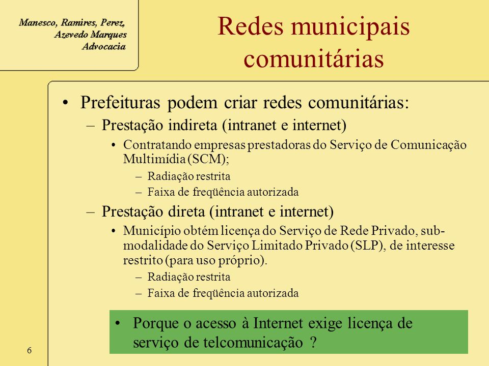 Redes municipais comunitárias