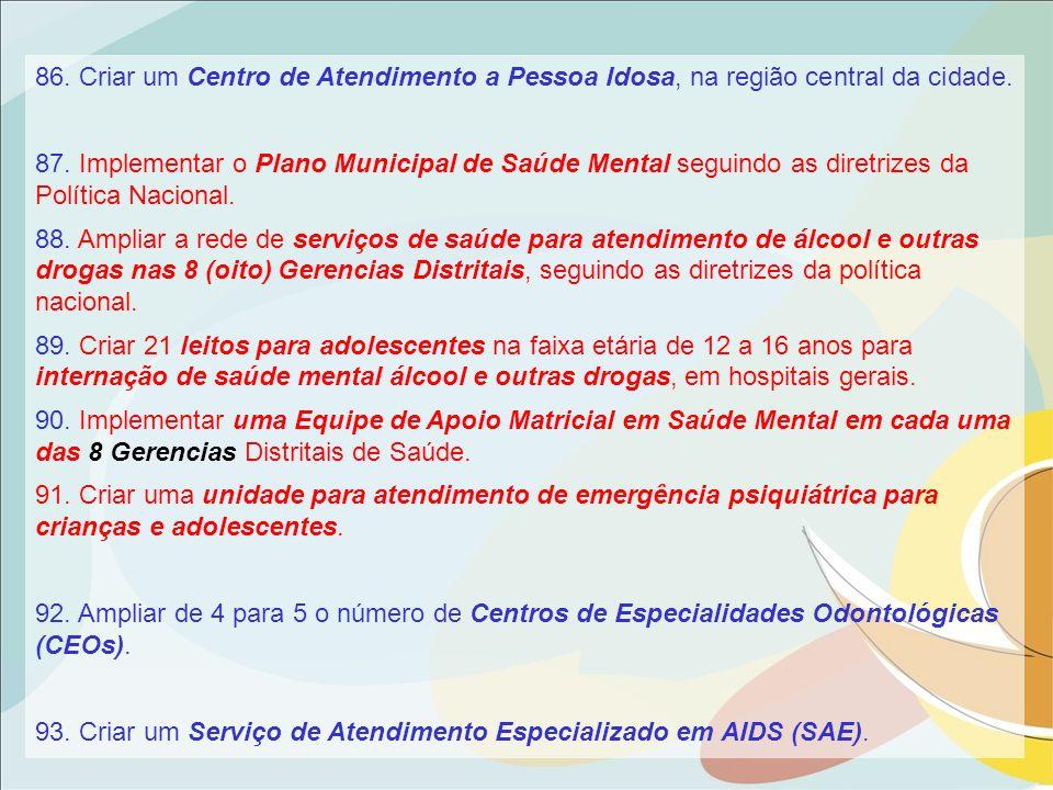 93. Criar um Serviço de Atendimento Especializado em AIDS (SAE).