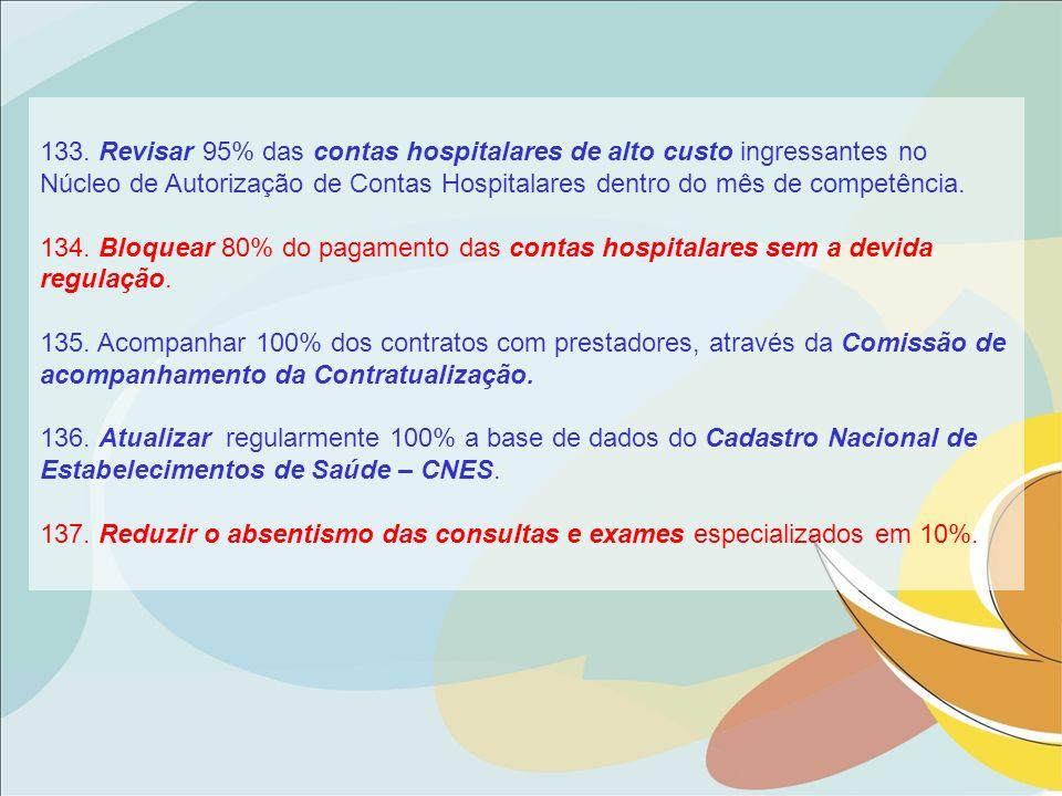 133. Revisar 95% das contas hospitalares de alto custo ingressantes no Núcleo de Autorização de Contas Hospitalares dentro do mês de competência.