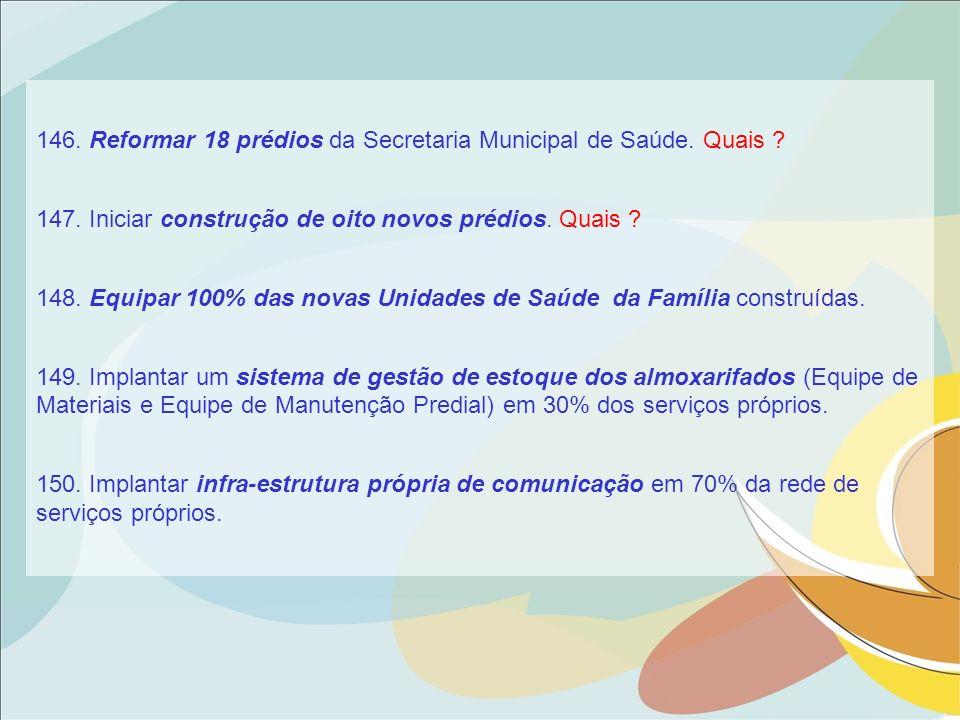 146. Reformar 18 prédios da Secretaria Municipal de Saúde. Quais
