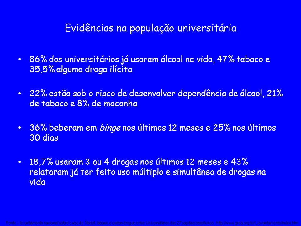 Evidências na população universitária