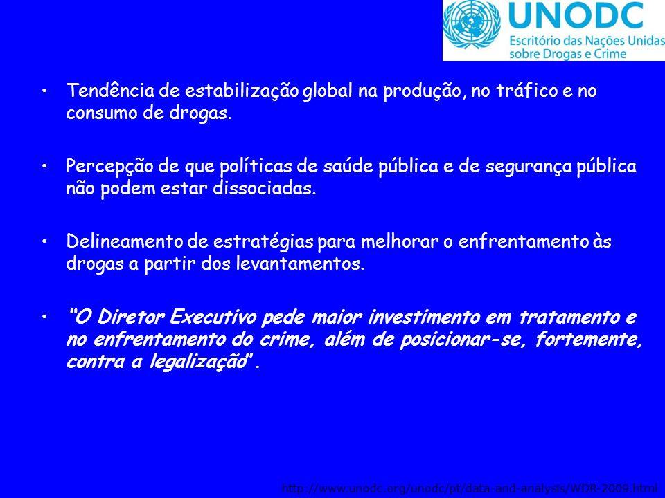 Tendência de estabilização global na produção, no tráfico e no consumo de drogas.