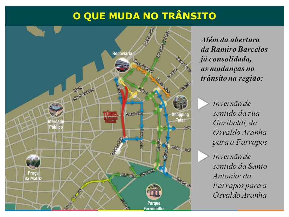 O QUE MUDA NO TRÂNSITOAlém da abertura da Ramiro Barcelos já consolidada, as mudanças no trânsito na região:
