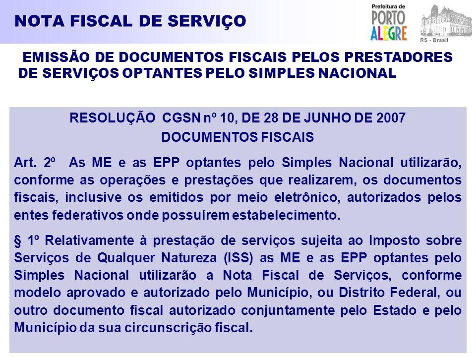 RESOLUÇÃO CGSN nº 10, DE 28 DE JUNHO DE 2007
