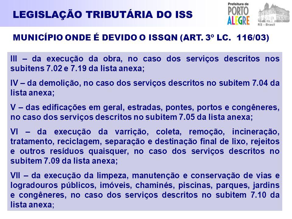 LEGISLAÇÃO TRIBUTÁRIA DO ISS