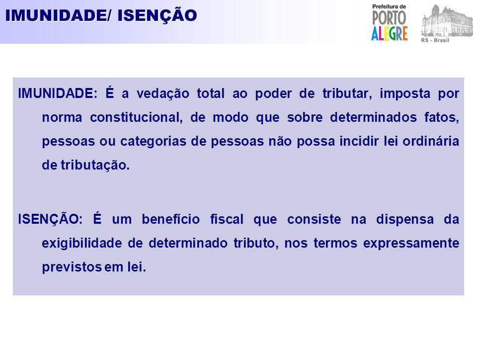 IMUNIDADE/ ISENÇÃO