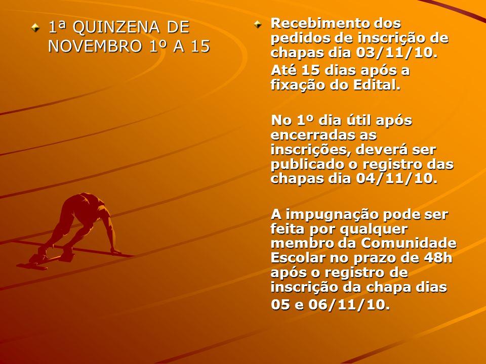 1ª QUINZENA DE NOVEMBRO 1º A 15