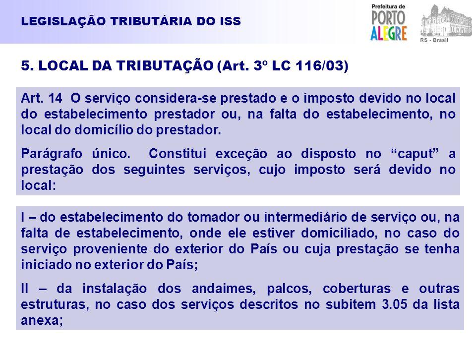 5. LOCAL DA TRIBUTAÇÃO (Art. 3º LC 116/03)