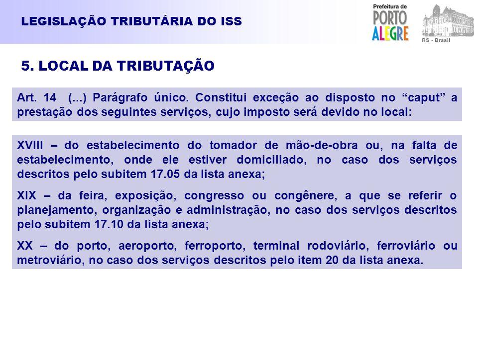 5. LOCAL DA TRIBUTAÇÃO LEGISLAÇÃO TRIBUTÁRIA DO ISS