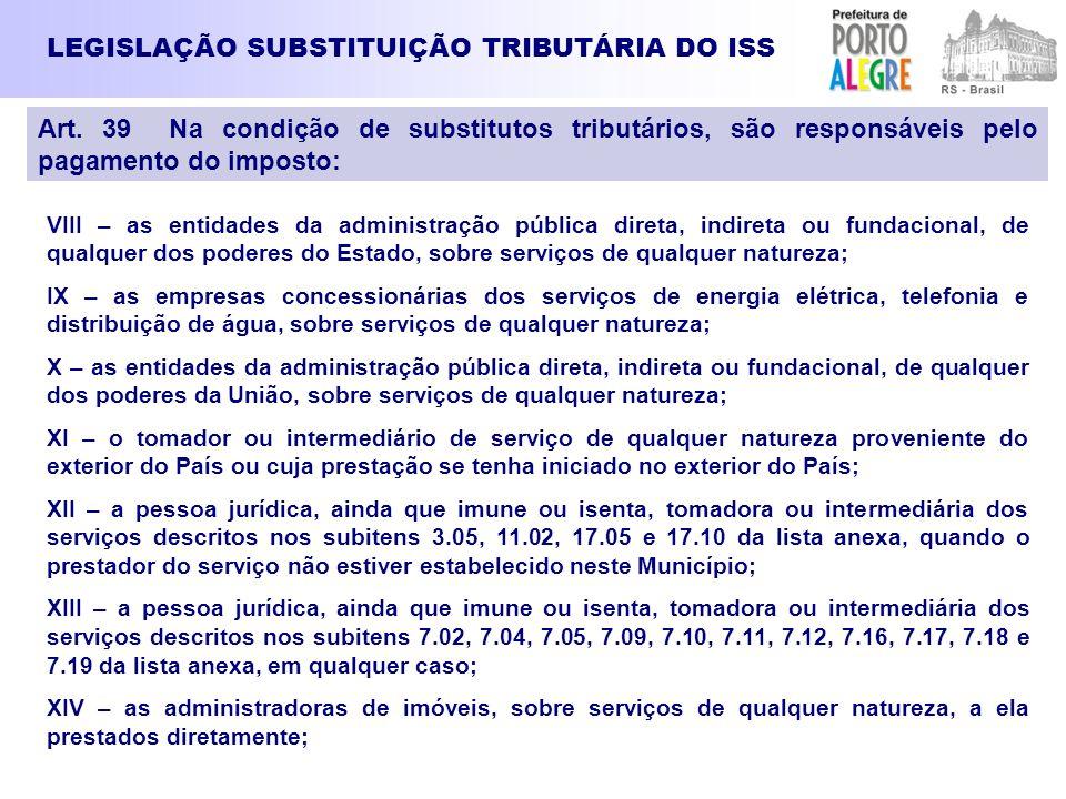 LEGISLAÇÃO SUBSTITUIÇÃO TRIBUTÁRIA DO ISS