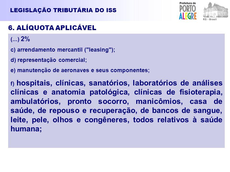 6. ALÍQUOTA APLICÁVEL LEGISLAÇÃO TRIBUTÁRIA DO ISS (...) 2%