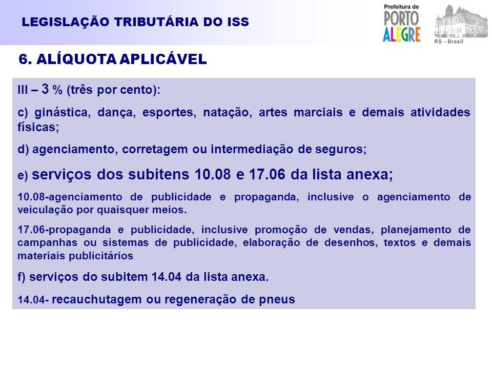 6. ALÍQUOTA APLICÁVEL LEGISLAÇÃO TRIBUTÁRIA DO ISS