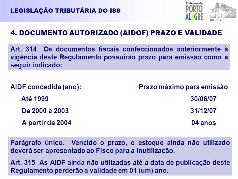 AIDF concedida (ano): Prazo máximo para emissão