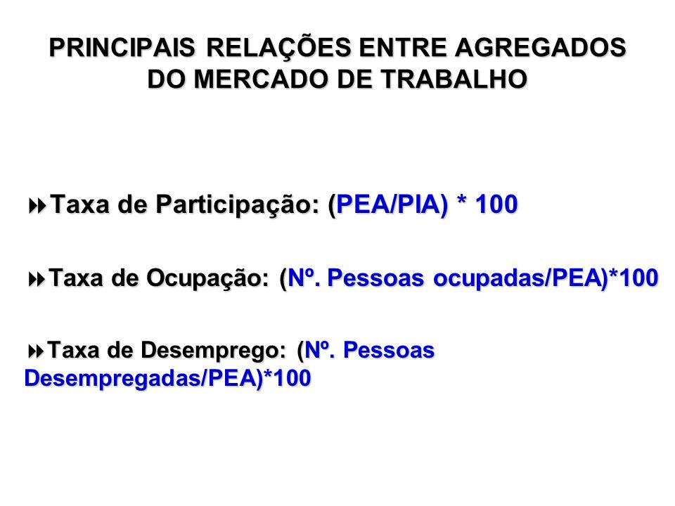 PRINCIPAIS RELAÇÕES ENTRE AGREGADOS DO MERCADO DE TRABALHO