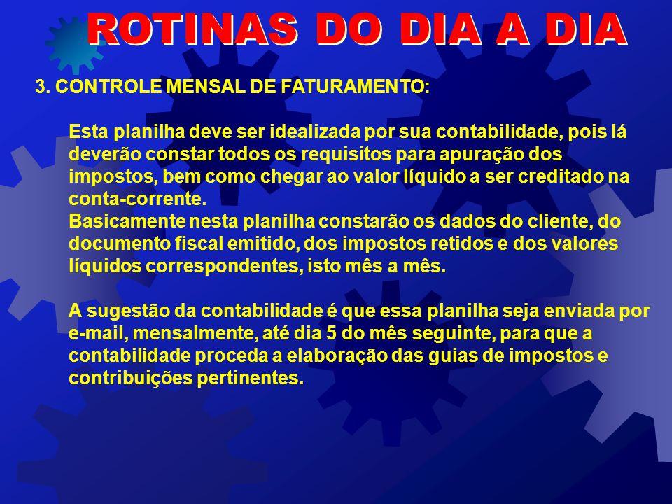 ROTINAS DO DIA A DIA 3. CONTROLE MENSAL DE FATURAMENTO: