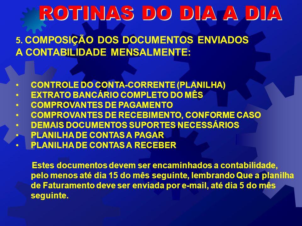 ROTINAS DO DIA A DIA A CONTABILIDADE MENSALMENTE:
