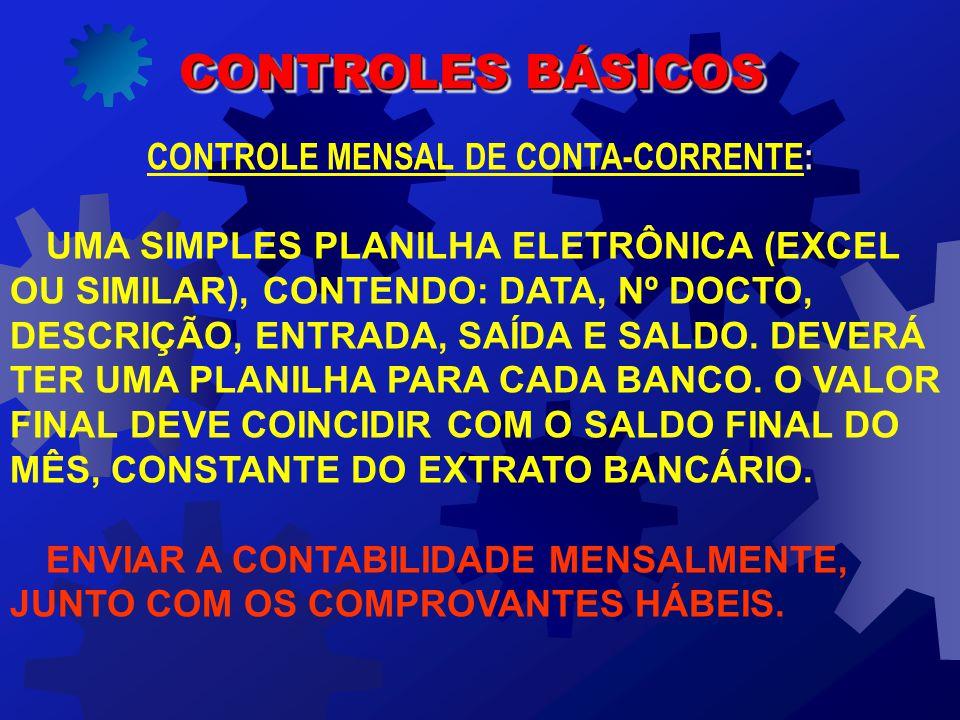 CONTROLE MENSAL DE CONTA-CORRENTE: