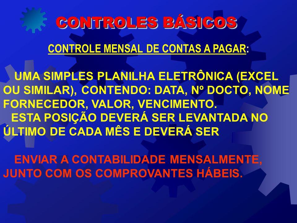 CONTROLE MENSAL DE CONTAS A PAGAR: