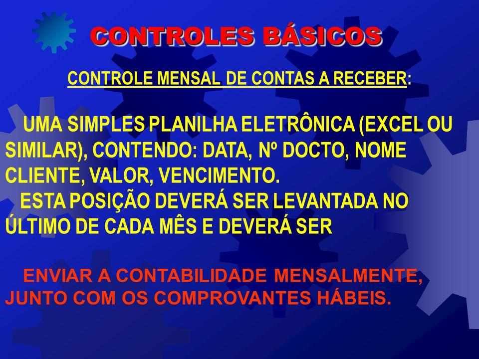 CONTROLE MENSAL DE CONTAS A RECEBER: