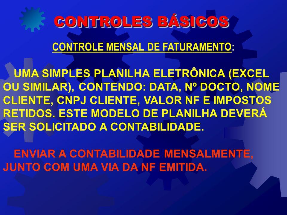 CONTROLE MENSAL DE FATURAMENTO: