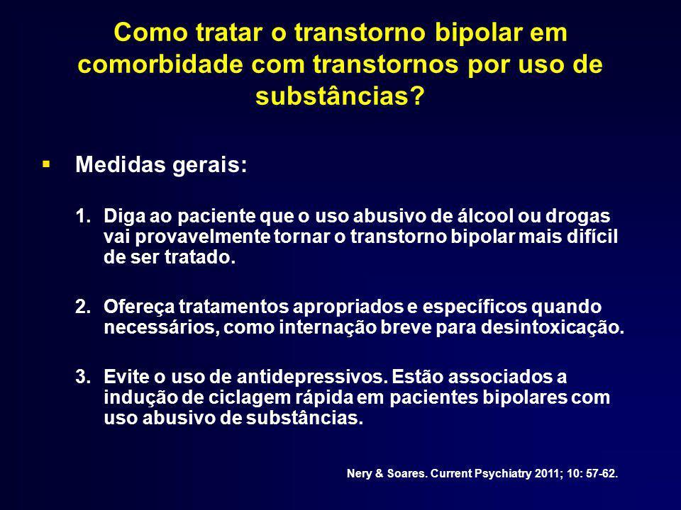 Como tratar o transtorno bipolar em comorbidade com transtornos por uso de substâncias