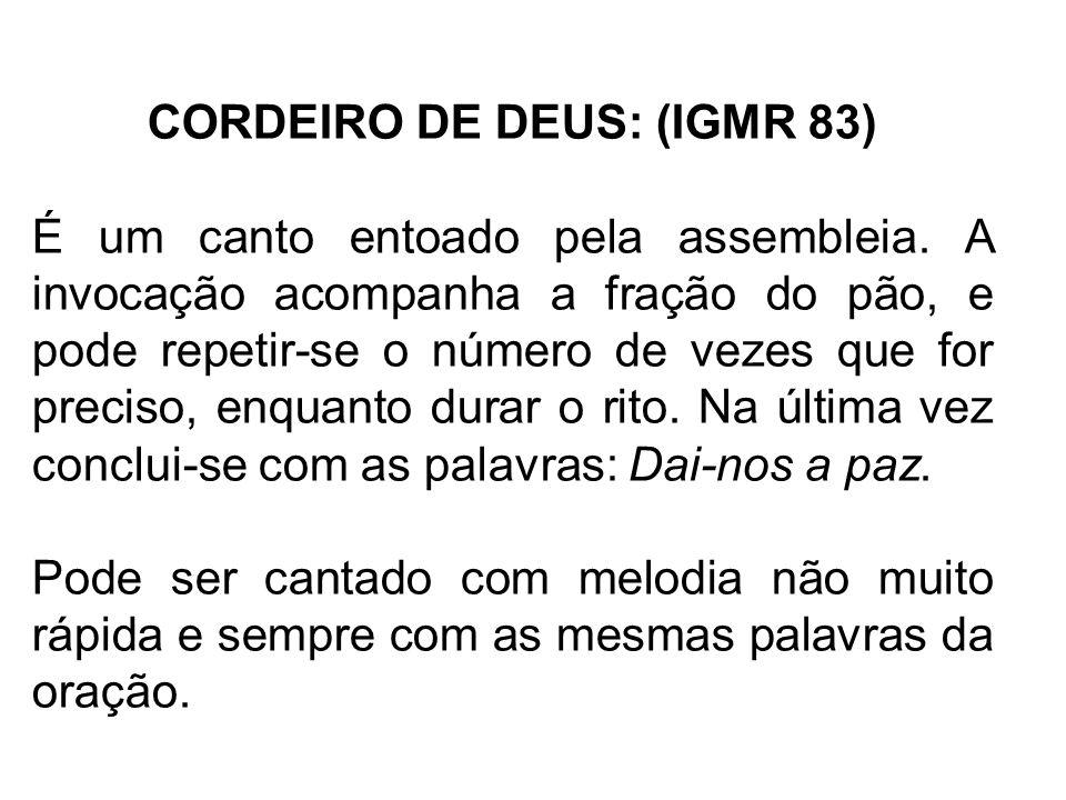 CORDEIRO DE DEUS: (IGMR 83)
