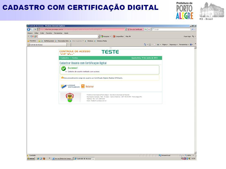 CADASTRO COM CERTIFICAÇÃO DIGITAL