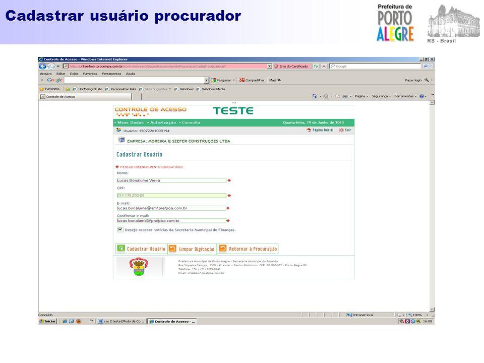 Cadastrar usuário procurador