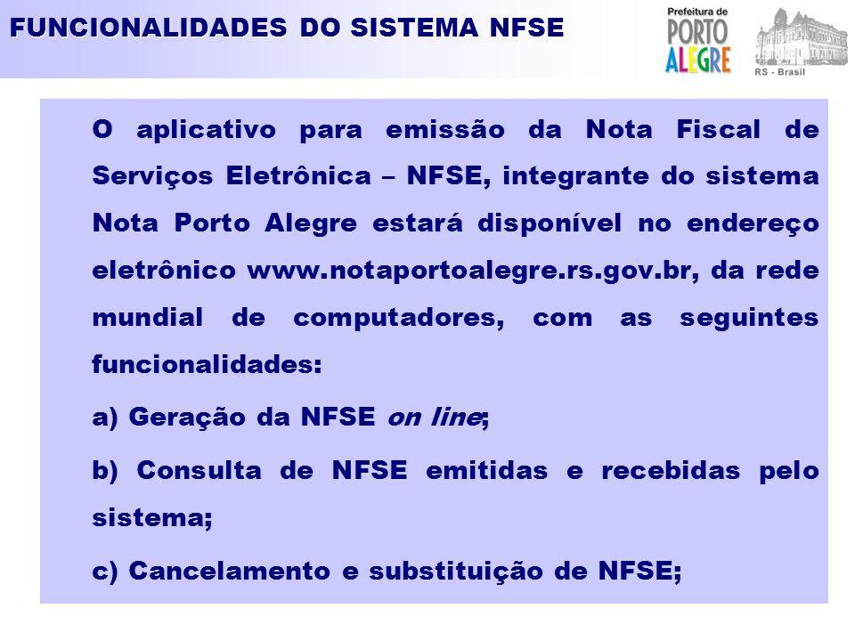 FUNCIONALIDADES DO SISTEMA NFSE