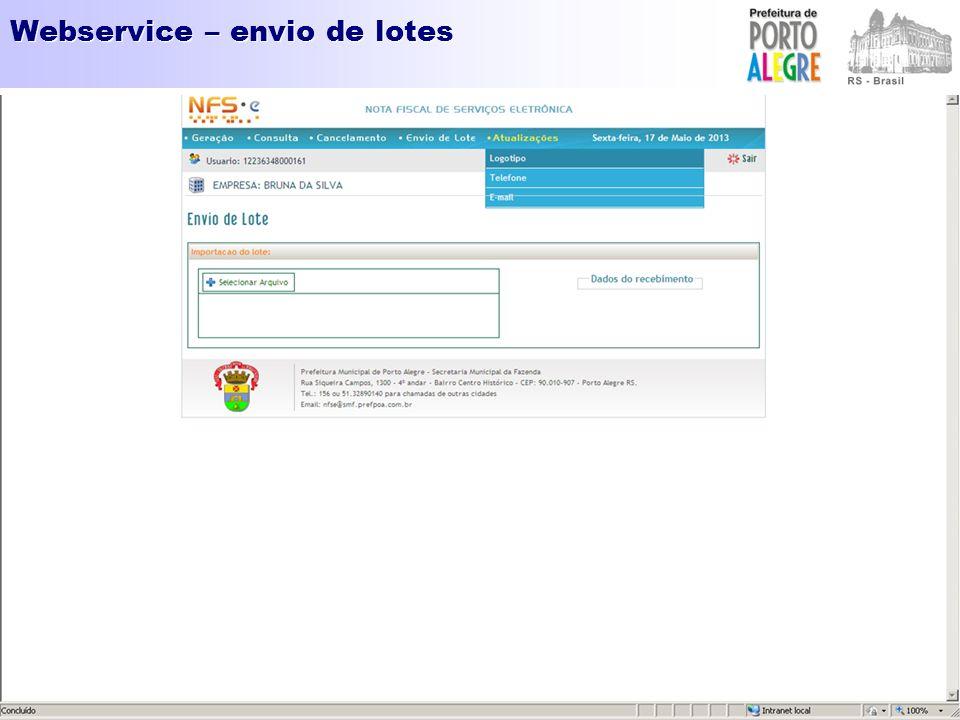 Webservice – envio de lotes