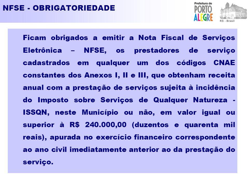 NFSE - OBRIGATORIEDADE