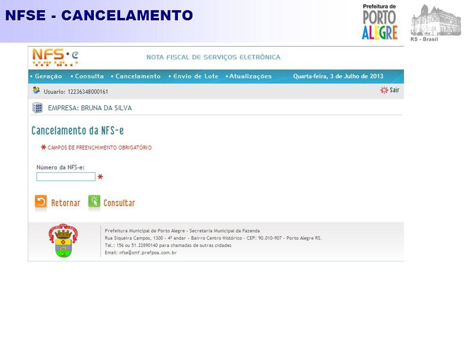 NFSE - CANCELAMENTO