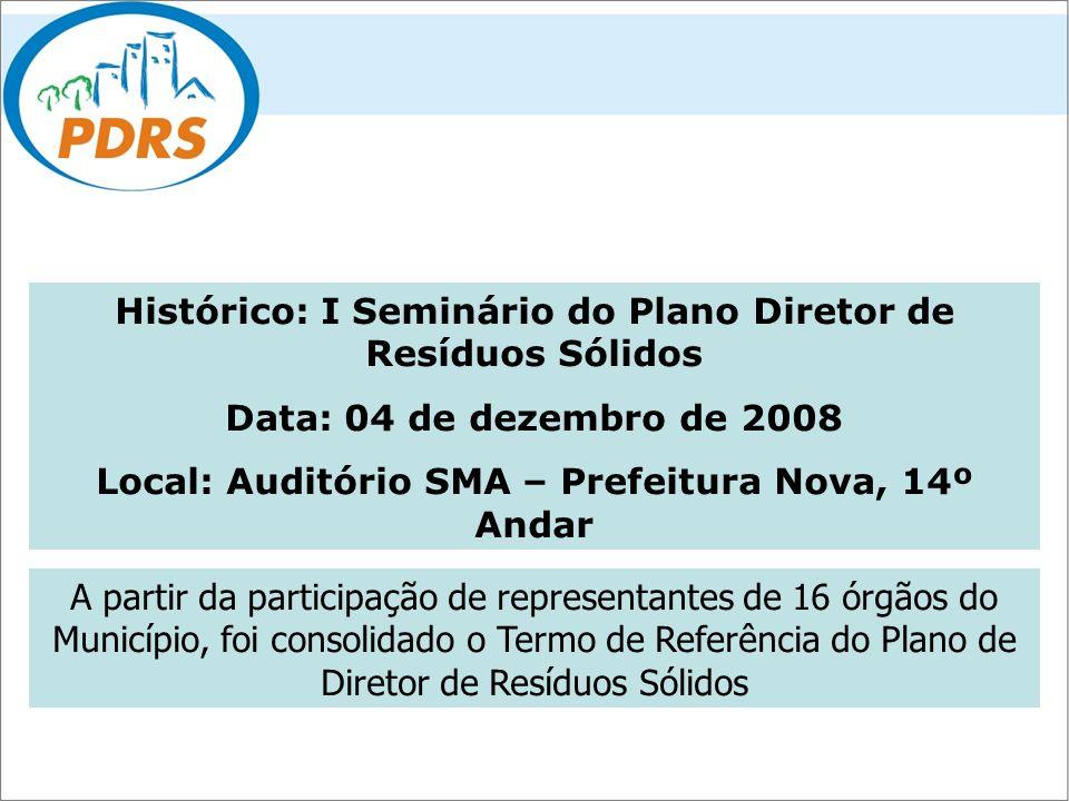 Histórico: I Seminário do Plano Diretor de Resíduos Sólidos