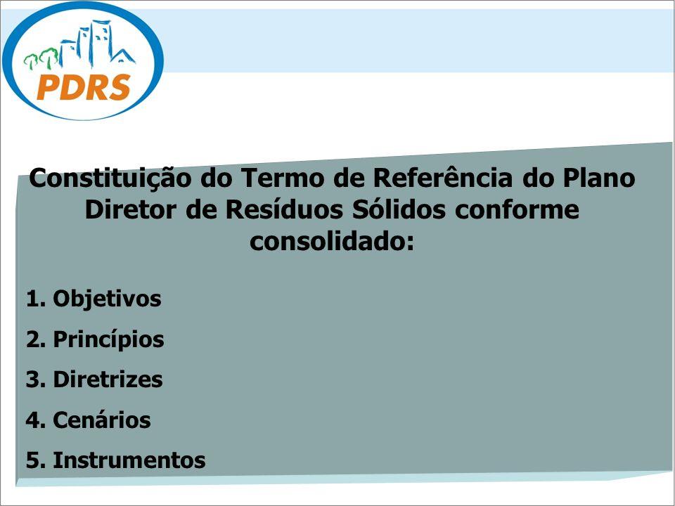 Constituição do Termo de Referência do Plano Diretor de Resíduos Sólidos conforme consolidado: