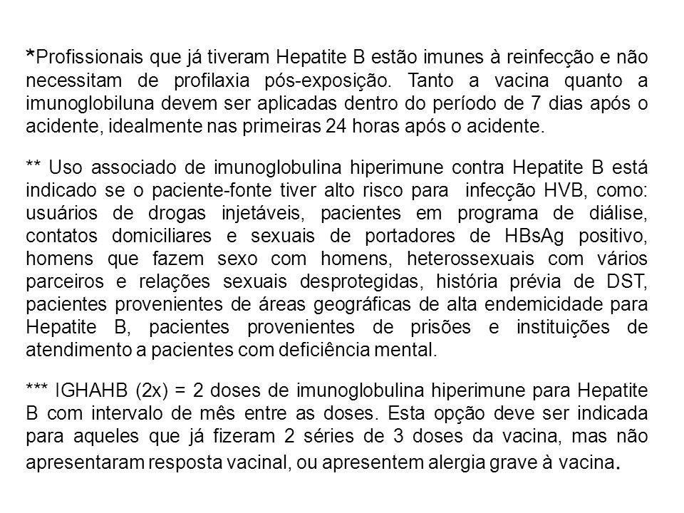 *Profissionais que já tiveram Hepatite B estão imunes à reinfecção e não necessitam de profilaxia pós-exposição. Tanto a vacina quanto a imunoglobiluna devem ser aplicadas dentro do período de 7 dias após o acidente, idealmente nas primeiras 24 horas após o acidente.