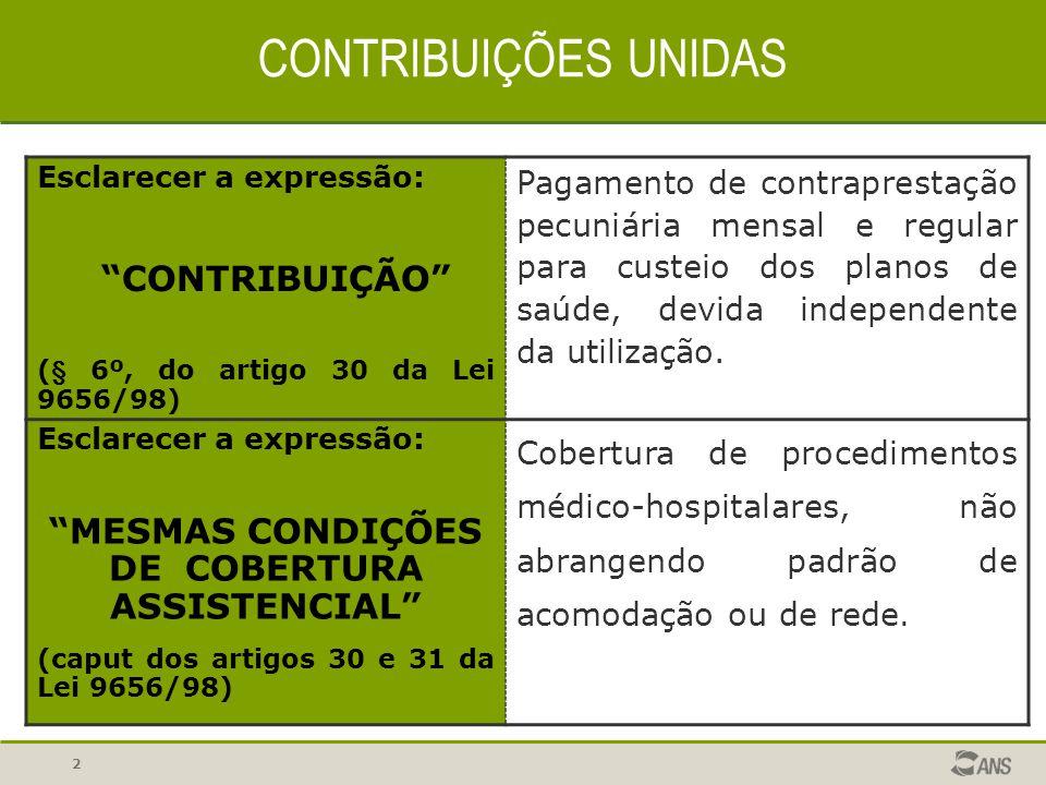 MESMAS CONDIÇÕES DE COBERTURA ASSISTENCIAL