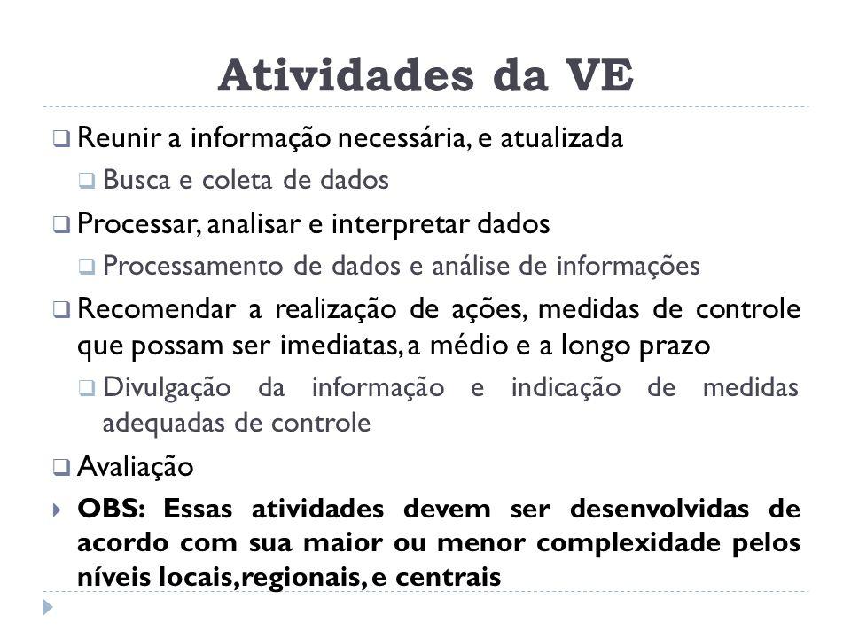 Atividades da VE Reunir a informação necessária, e atualizada