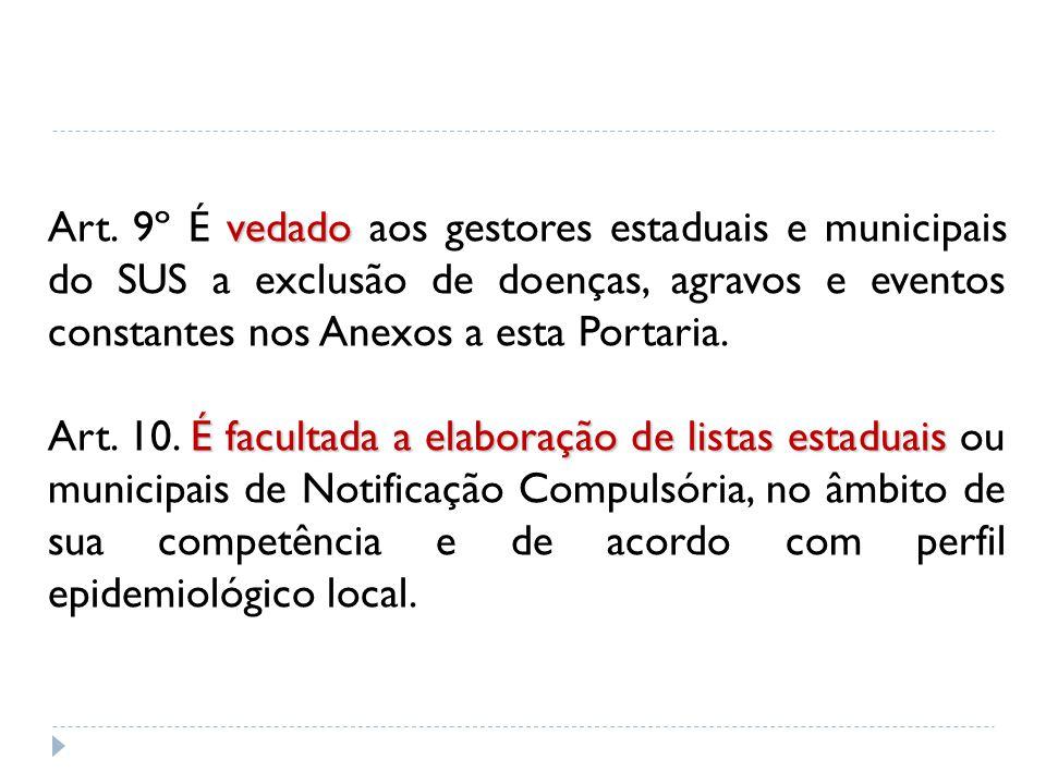 Art. 9º É vedado aos gestores estaduais e municipais do SUS a exclusão de doenças, agravos e eventos constantes nos Anexos a esta Portaria.