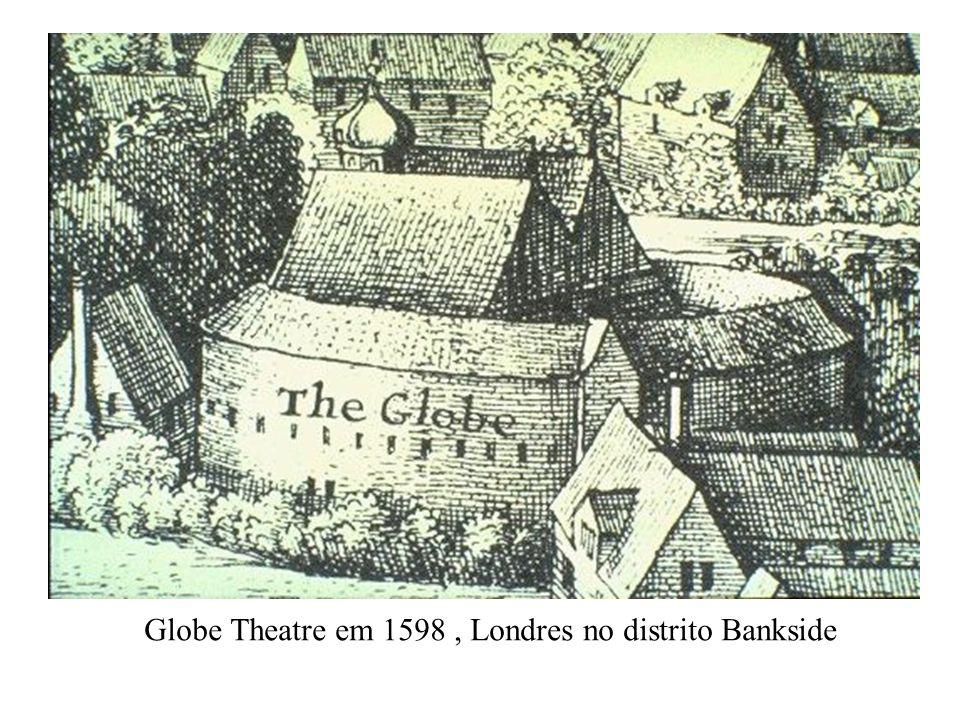 Globe Theatre em 1598 , Londres no distrito Bankside