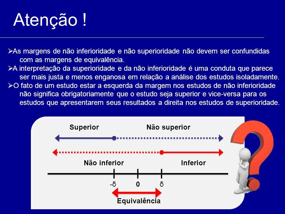 Atenção ! As margens de não inferioridade e não superioridade não devem ser confundidas. com as margens de equivalência.