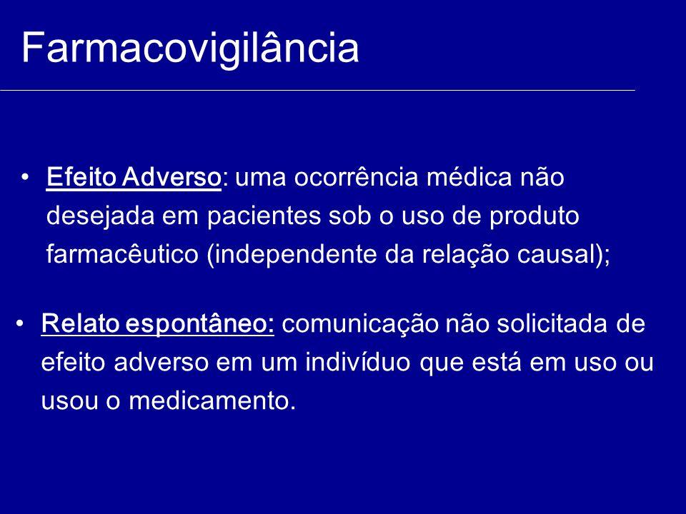 Farmacovigilância Efeito Adverso: uma ocorrência médica não desejada em pacientes sob o uso de produto farmacêutico (independente da relação causal);