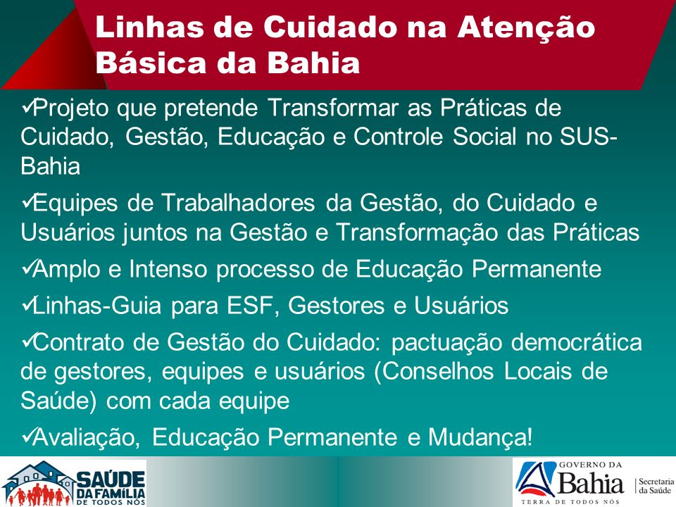 Linhas de Cuidado na Atenção Básica da Bahia