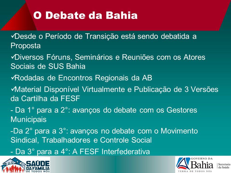 O Debate da Bahia Desde o Período de Transição está sendo debatida a Proposta.