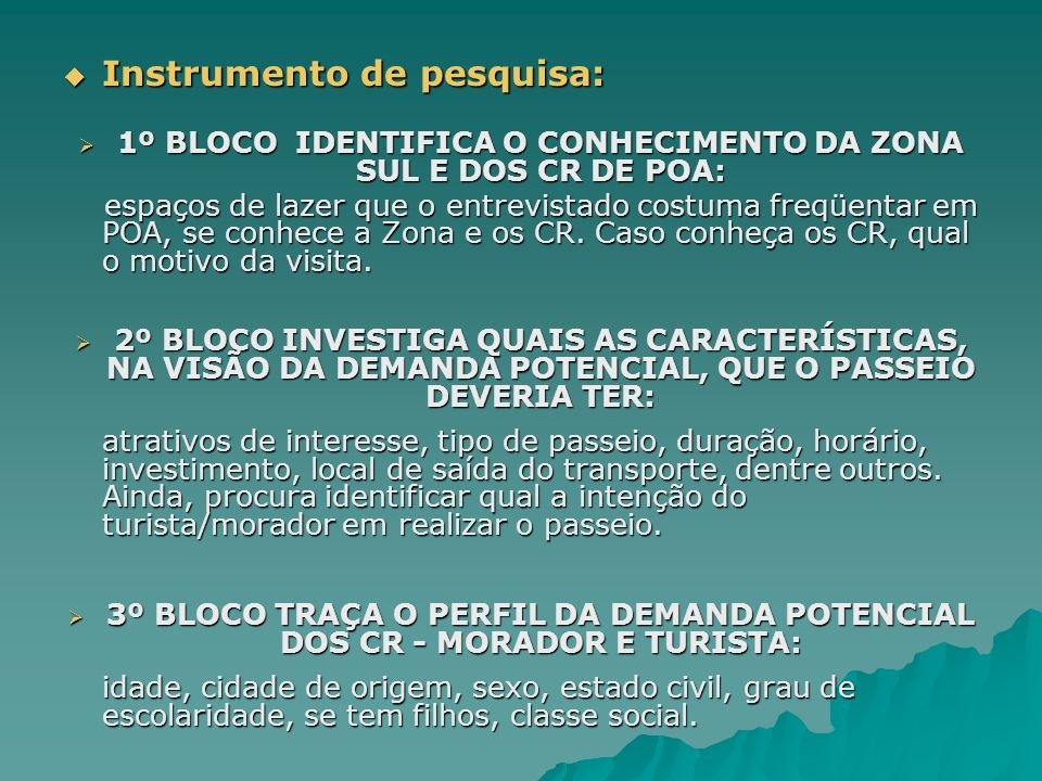 1º BLOCO IDENTIFICA O CONHECIMENTO DA ZONA SUL E DOS CR DE POA: