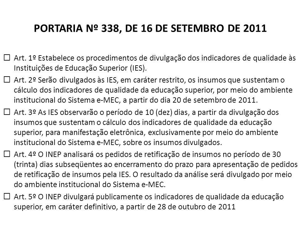 PORTARIA Nº 338, DE 16 DE SETEMBRO DE 2011