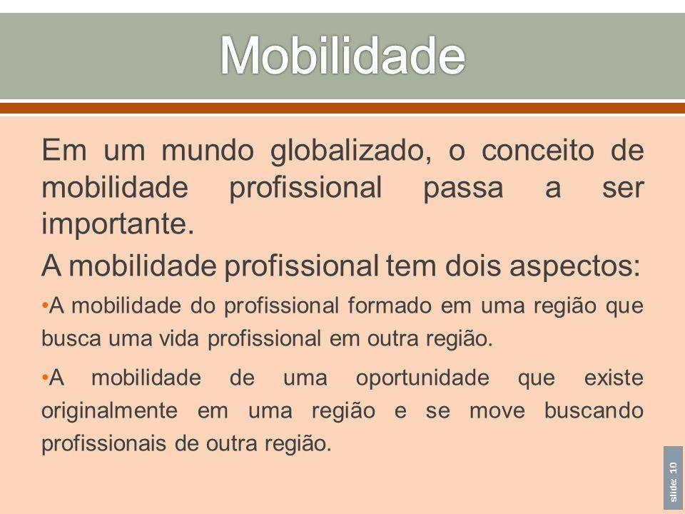 Mobilidade Em um mundo globalizado, o conceito de mobilidade profissional passa a ser importante.