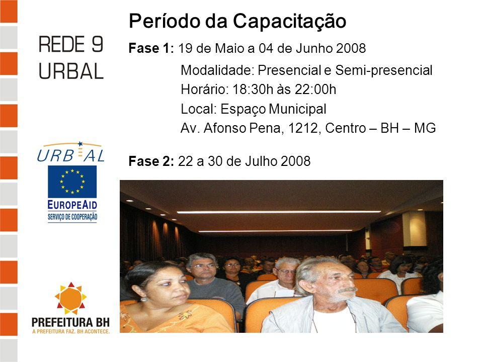 Período da Capacitação Fase 1: 19 de Maio a 04 de Junho 2008