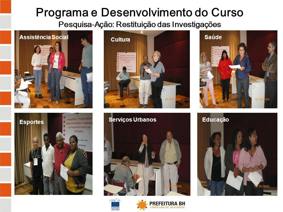 Programa e Desenvolvimento do Curso Pesquisa-Ação: Restituição das Investigações
