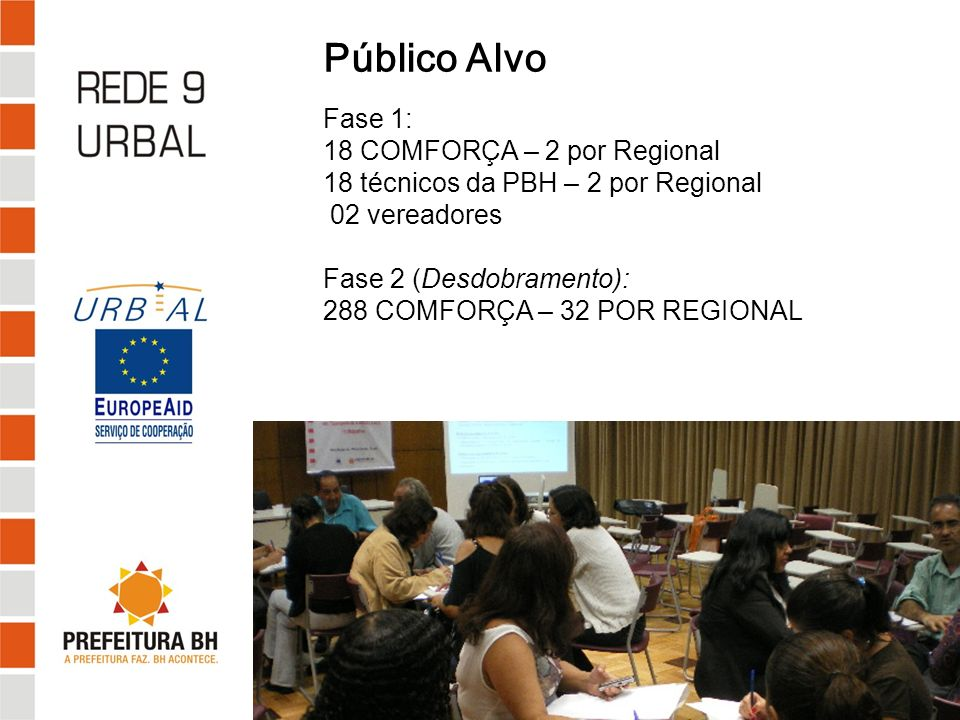 Público Alvo Fase 1: 18 COMFORÇA – 2 por Regional